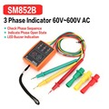 SM852B 3 фазы вращения тестер цифровой индикатор фазы детектор Светодиодный зуммер фазы последовательности метр тестер напряжения 60V ~ 600V AC
