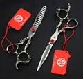 FAST Shipping!  brand 6 inch 440C Dragon handle high-grade hair scissors hairdressing salon barber shears come with leather case