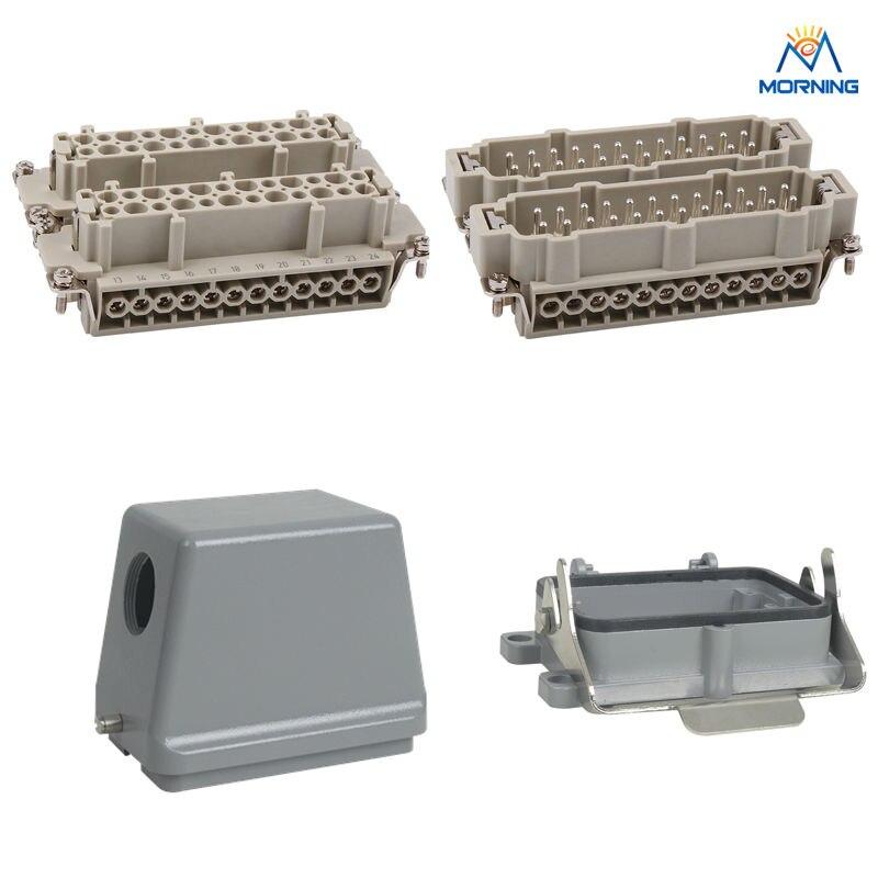 Whole set HE-048 jack and plug Heavy Duty Connector 48pin 16a 400v 500v heavy duty connector 48 core aviation plug mk he 048 1