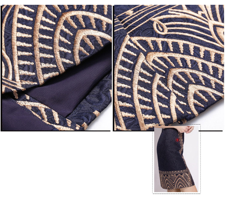 Embroidery Print Sleeveless Slim Waist Office Dress 9