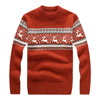 Men's Autumn Winter Brand Round Neck Sweater Men Cashmere Warm Pullover Sweaters Male Christmas Deer Pattern Knitted Jumper