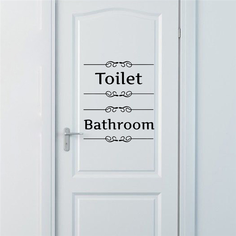 [Hot New Product] Text Wall Stickers Toilet Bathroom Door Vinyl Classic Black And White Decorationl Art Stickers Free Shipping 1