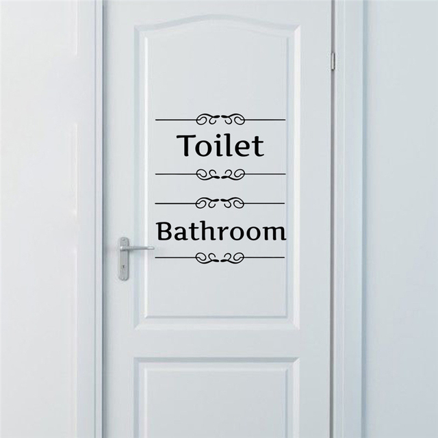 [Hot New Product] Text Wall Stickers Toilet Bathroom Door Vinyl Classic Black And White Decorationl Art Stickers Free Shipping