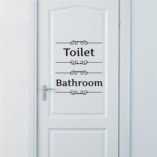 [Novo Produto quente] Texto Adesivos de Parede Banheiro Porta Do Banheiro Vinil Decorationl Clássico Preto E Branco Arte Adesivos Livre grátis