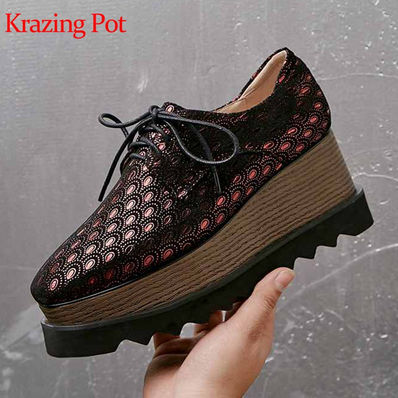 Krazing Pot Special Sheep Suede Patterns Leather High Fashion Wedges High Heel Pumps High Qulity Custom Made Luxury Shoes L03