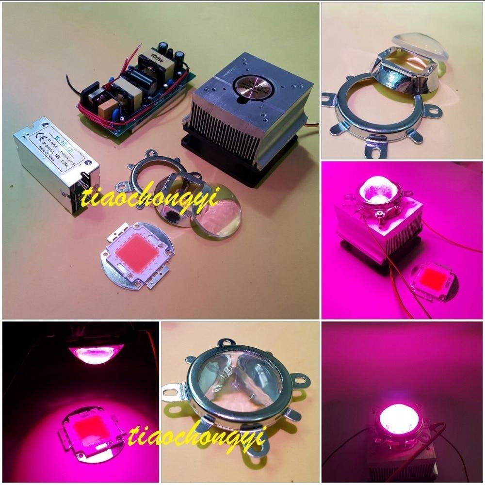 100 W bricolage led élèvent le kit léger 380-840nm, puce + conducteur + ventilateur de radiateur + lentille de 60 degrés