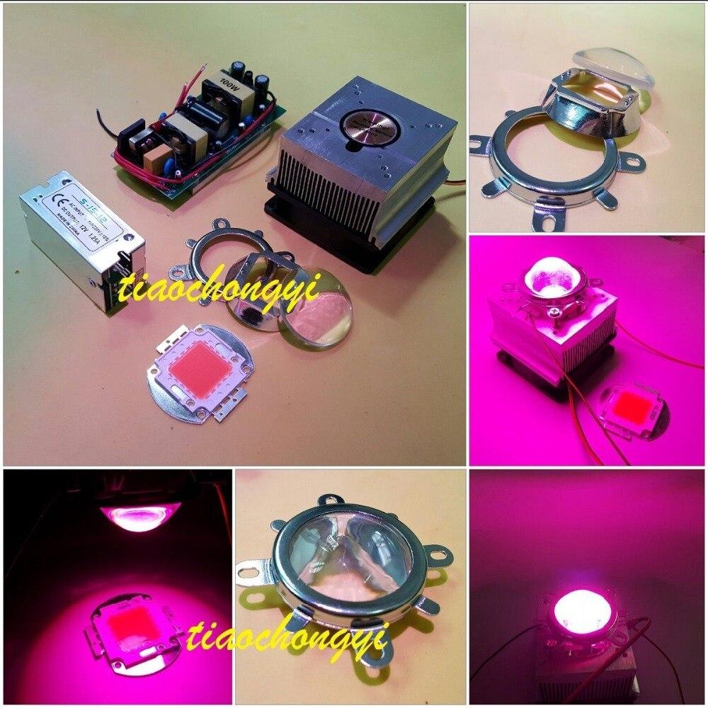 100W DIY led grow light 380-840nm kit,chip+driver+heatsink fan +60Degree lens100W DIY led grow light 380-840nm kit,chip+driver+heatsink fan +60Degree lens