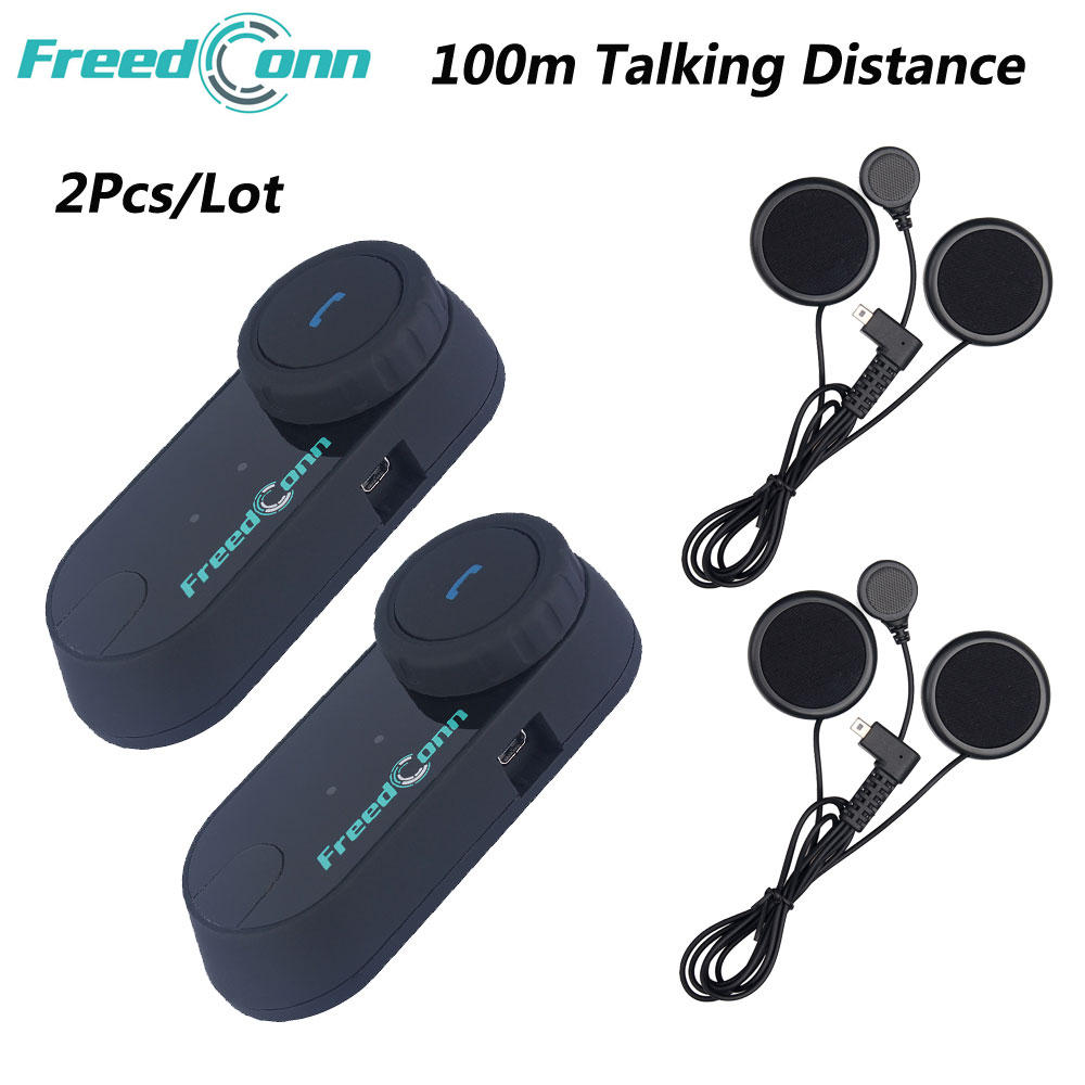 2Pcs/Lot FreedConn 100M TCOM OS Moto Wireless Helmet Headset Bluetooth Soft Earphone Motorcycle Intercom With FM Radio