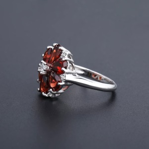 Image 5 - GEMS BALLET 5.05Ct Natural Red Garnet Cocktail Ring 925 Sterling Silver Gemstone Vintage Flower Rings For Women Fine Jewelry