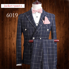 New Spring autumn Suits Men Wedding Dress Two Sets Double Breasted Buttons  Formal fashion jacket+pants plus size M-2XL3XL4XL5XL 7716390088e2