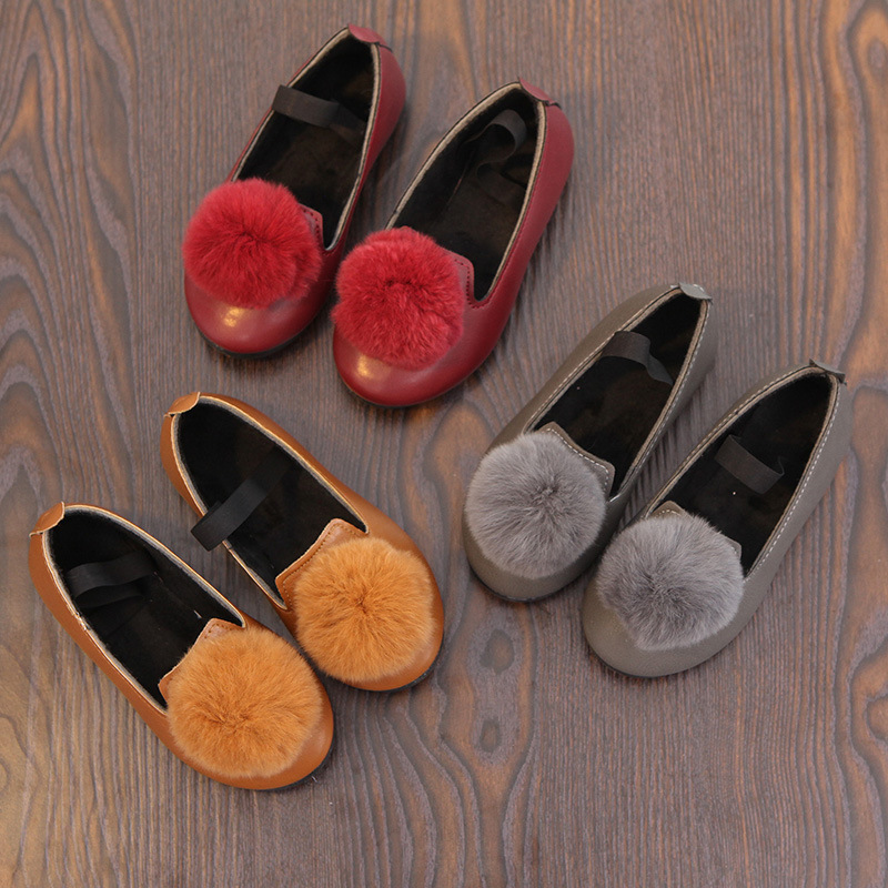 Infant Girls Kids Bunny Fur Ball Slip On Flat Pump Shoes Loafers Trainers Size