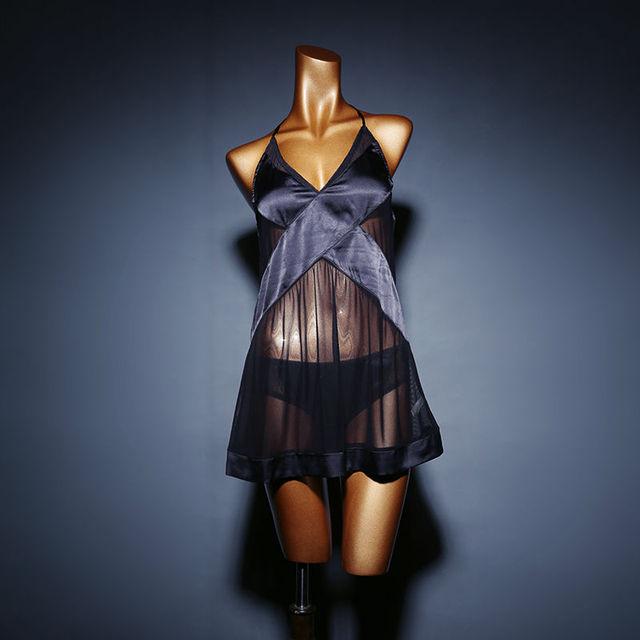 Selebritee Camisola De Cetim Sleepwear Sexy para As Mulheres Vestido De Noite Plus Size Vestido Sono Lingerie Halter Perspectiva e Cuecas Definir