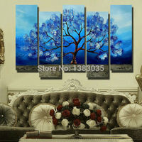 Hand Painted Modern Tree Wall Painting Oil Blue Canvas Art 5 Piece Abstract Home Decor Picture