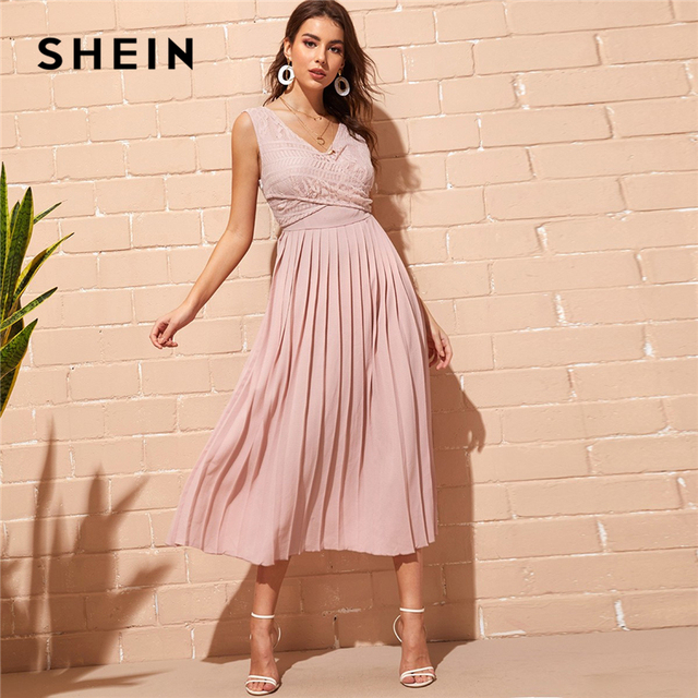 72c39b283b SHEIN Elegant Pink Criss-cross Wrap Lace Bodice Pleated Summer Long Party  Dress Women Double V Neck Sleeveless A Line Dresses