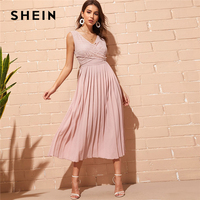 SHEIN Elegant Pink Criss cross Wrap Lace Bodice Pleated Summer Long Party Dress Women Double V Neck Sleeveless A Line Dresses