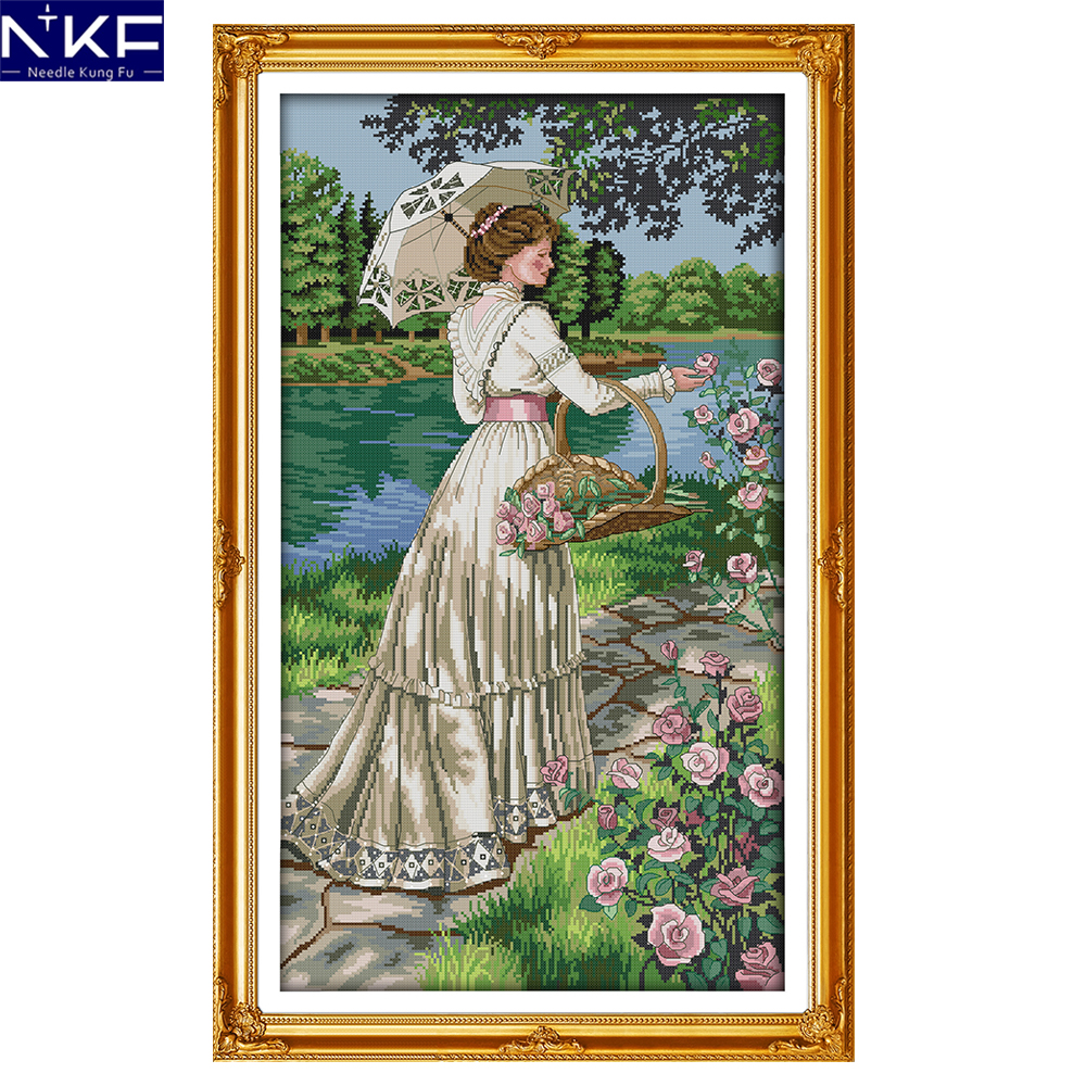 NKF Picking flowers needle craft Chinese cross stitch charts counted stamped Christmas cross stitch kits for home decoration