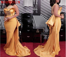 2019 Sexy Mermaid Evening Dresses Scoop Neck Crystal Beaded Plus Size Celebrity African Women Satin Formal Gown