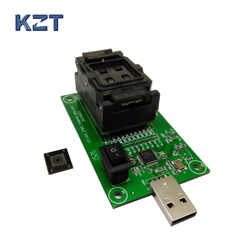 US $125 0 |eMMC153/169 test socket with USB interface Reader size 12x18  Pitch 0 5mm for BGA169 BGA153 nand flash testing Clamshell-in Connectors  from
