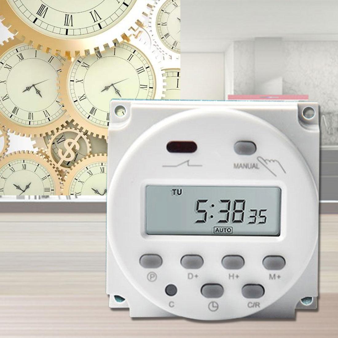 AC 220 V digital redonda LCD potencia temporizador programable relé de tiempo 16A interruptor soporte