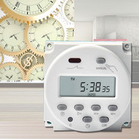 AC 220V Digital Round LCD Power Programmable Timer Time Relay 16A Switch Support Timers