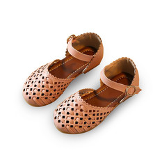 Girls sandals Summer toddler gladiator flat shoes Fashion children girls princess cut-outs Kids pu leather Shoes