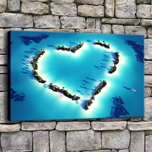 Canvas Wall Art Picture 1 Piece Love Heart Of The Sea HD Painting Modern Print Type Style Home Decor Romantic Blue Ocean Poster modern decor wall artwork natural landscape picture 1 piece sea coast tropical paradise beach ocean island boat canvas poster