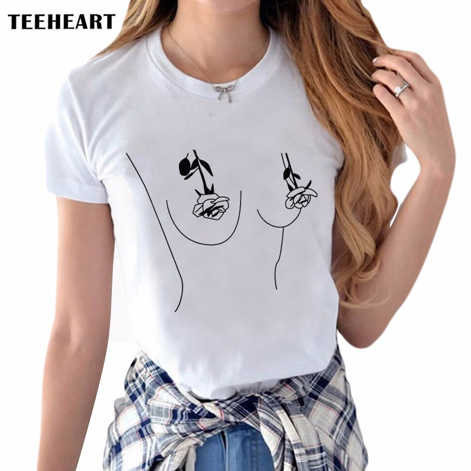 T shirt printing at white rose - Online Shop Sexy Women Tops Funny T Shirt White Rose Flower Tit Breast Printed T Shirt Kawaii Harajuku Boob Tee Shirt Femme Women Tumblr Aliexpress Mobile