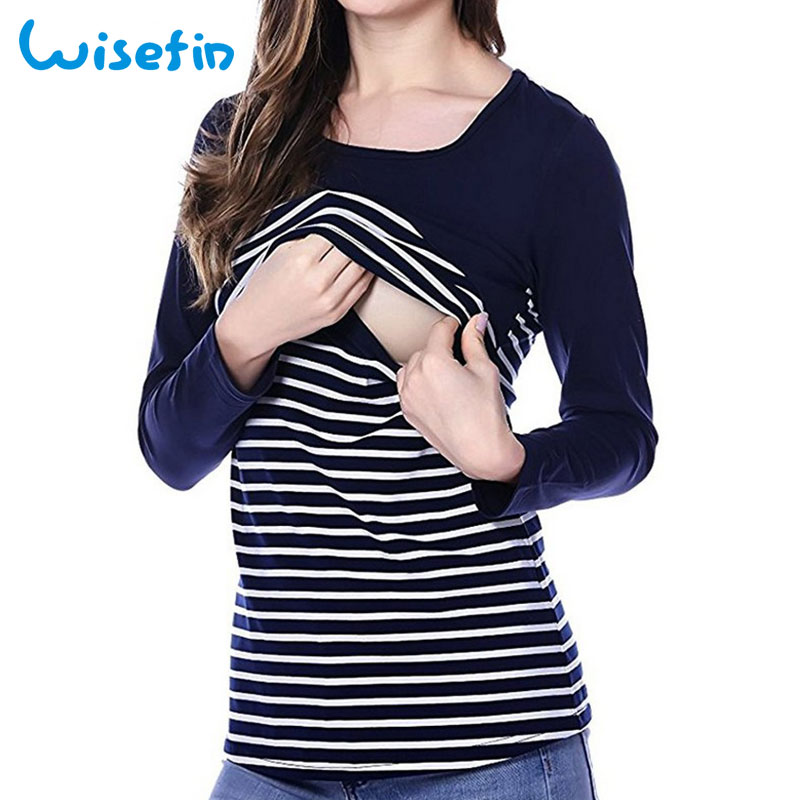 Wisefin Maternity Clothing For Pregnant Fashion Nursing Tops Breastfeeding Clothes Long Sleeve Shirt Stripe Pregnancy Clothes fashion easy matched stripe pattern shirt