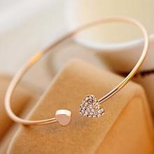 2pcs lot Opening Bracelet Women Girl Crystal Double Heart Style Gold Tone Rhinestone Love Heart Bangle