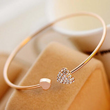 2pcs/lot Opening Bracelet Women Girl Crystal Double Heart Style Gold Tone Rhinestone Love Heart Bangle Cuff Bracelet Jewelry New