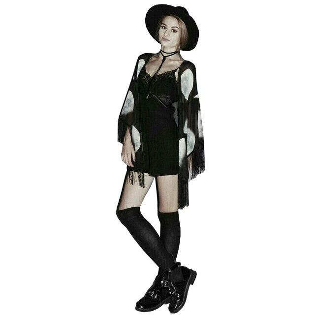 Mulheres Chiffon Tops Tassel Xale Kimono Cardigan Blusa Feminina Casual Impressão Lua Capa Blusa quimono Camisas Casacos Kints