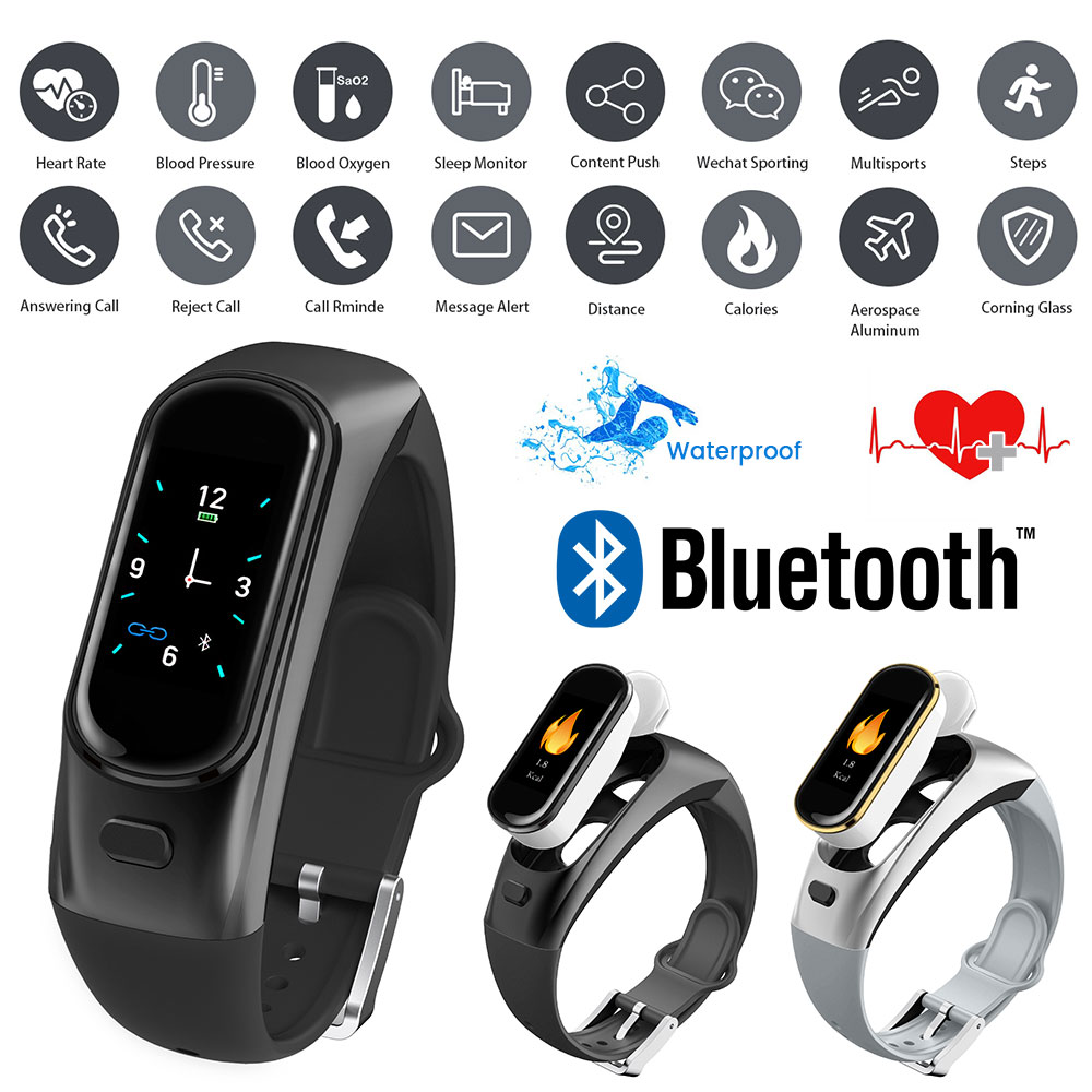 Bracelet intelligent Sport Bracelet casque Bluetooth écouteur activité sommeil podomètre moniteur Fitness bracelets de montre montre Tracker