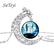 SUTEYI  New Style Jewelry The Nightmare Before Christmas Vintage Necklace Hollow Moon Glass Chain Necklace Free Shipping N-M18