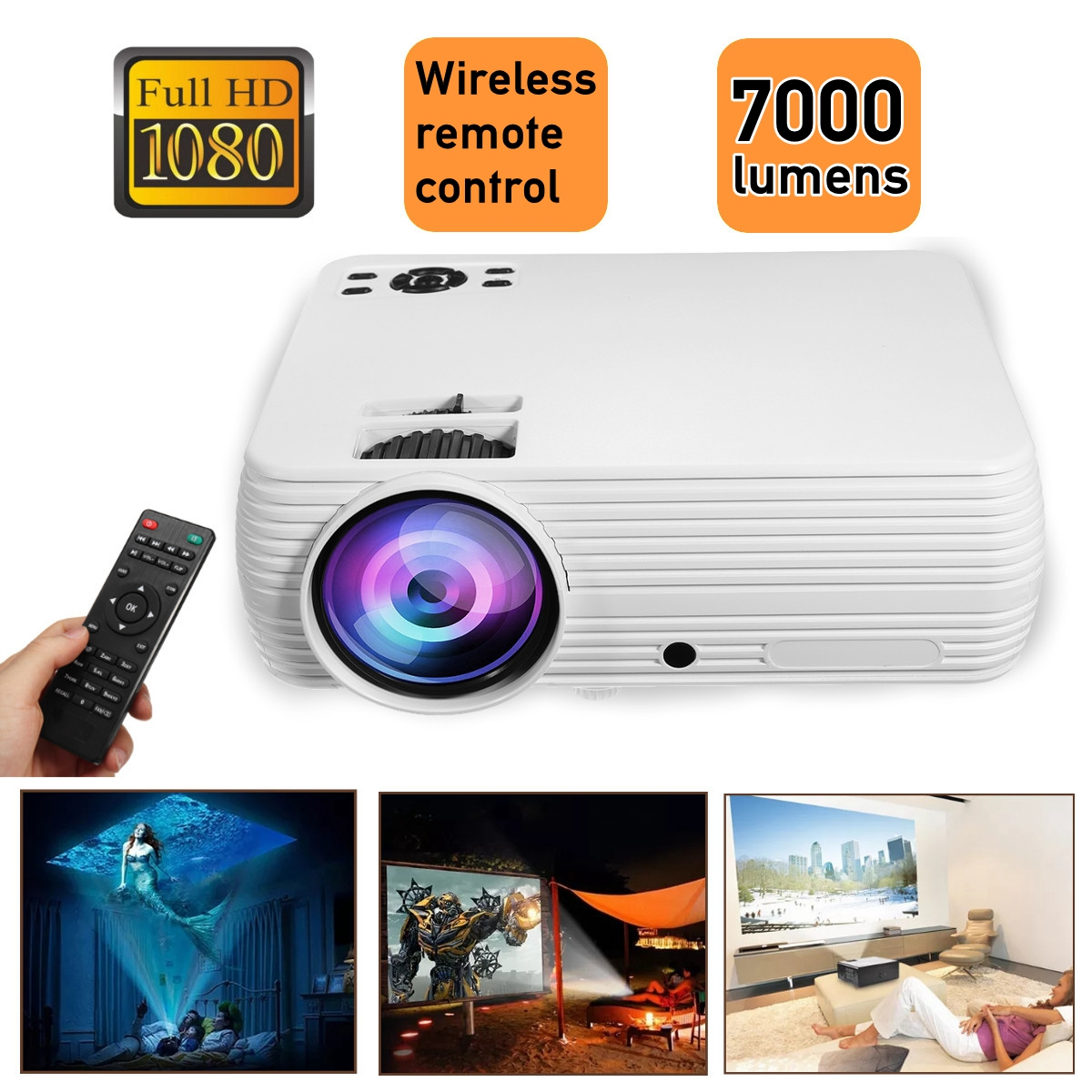 X5 Projector Home Cinema Theater Movie LED Proyector HD Projectors USB VGA HDMI AV TF Support 1080P 7000 Lumens