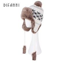Difanni Winter Women Warm Bomber Hat Russian Ushanka Knit Pom Pom Union Flag Trapper Aviator Hats Fox Fur Earflaps Snow Caps
