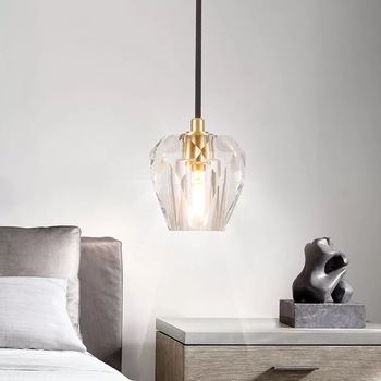Nordic all copper crystal lampshade AC 220V retro modern LED chandelier simple smooth G9 base indoor living room lamp kitchen