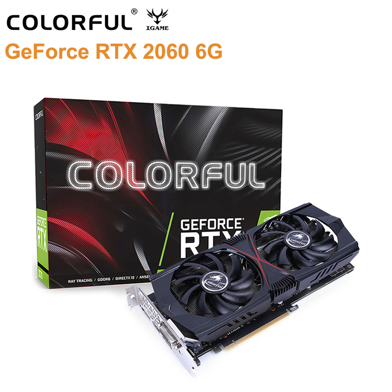 D'origine Coloré GeForce RTX 2060 6 GB carte graphique de Jeu GT Vidéo 8Pin Double Ventilateur carte graphique 1365 MHz 192bit 12nm HDMI DVI DP