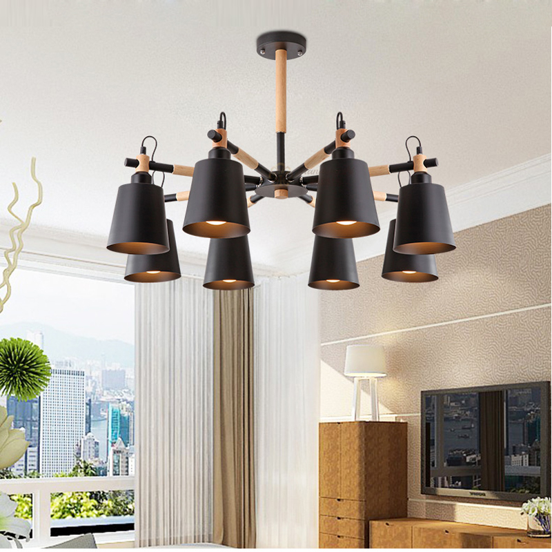 Wood Chandeliers For Dining Room: Led Wood Chandelier Lamp For Dining Room Nordic Simple