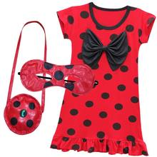 4429bfec33dd 2018 New Miraculous Lady Bug Dresses casual Clothes Kids Short Sleeve Dress  little Girls Summer Evening Party Clothing masks+bag