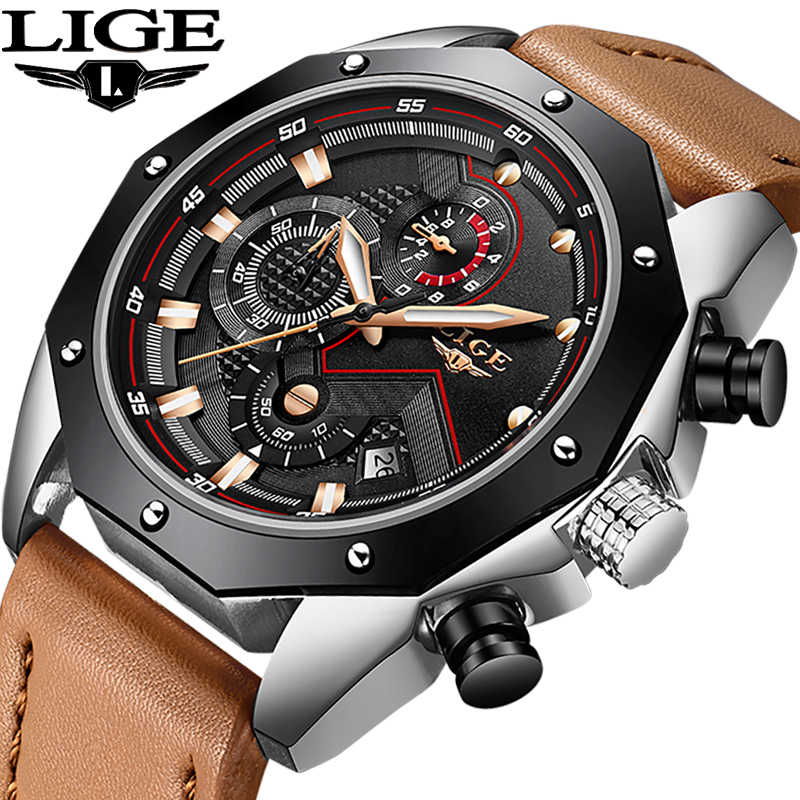 LIGE Mens watches top brand luxury mens fashion business watch mens quartz large dial leather waterproof wrist relogio masculino mens watches top brand luxury oulm 3130 dual time large dial watches leather band casual quartz watch relogio masculino grande