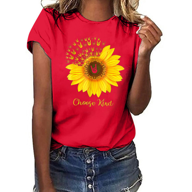 Women Plus Size sunflower Print Shirt Short Sleeve T Shirt multicolor top Classic Quilted graphic tees women Couple clothes tee