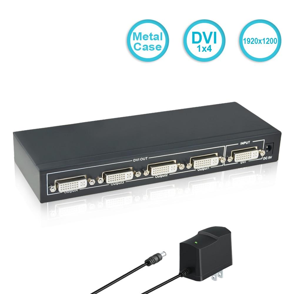 SGEYR 4 Port DVI Splitter,1 Input 4 Output splitter Support Resolution Up to 1920x1080,dvi video splitter 1X4 with Power Supply dvi splitter 1 4with dual link dvi d 4k 2k 1 input 4 output video splitter hd 1920 x 1200