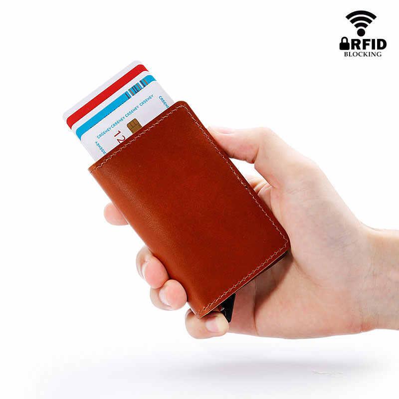 RFID Bloqueando 100% Couro Genuíno Negócio ID Cartão de Crédito Titular Metal de Alumínio Caso Do Cartão Do Titular Do Cartão Fino Mini Carteira para Os Homens