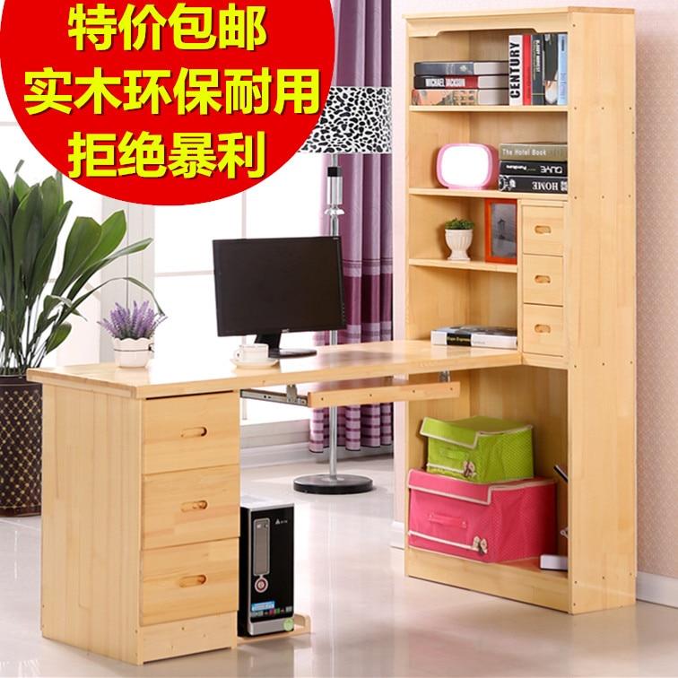 free shipping solid wood computer desk pine desk with bookcase desk corner cabinet combination desktop minimalist homein computer desks from furniture on
