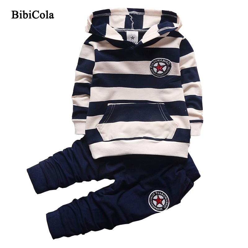 BibiCola Spring Autumn Boys Sports Suit set Children Boys Clothing Set Kids Clothes Tracksuit Costume Baby Boys Clothes set free shipping 2017 spring autumn children baby boys hooded sports suit letter 2pcs set kids