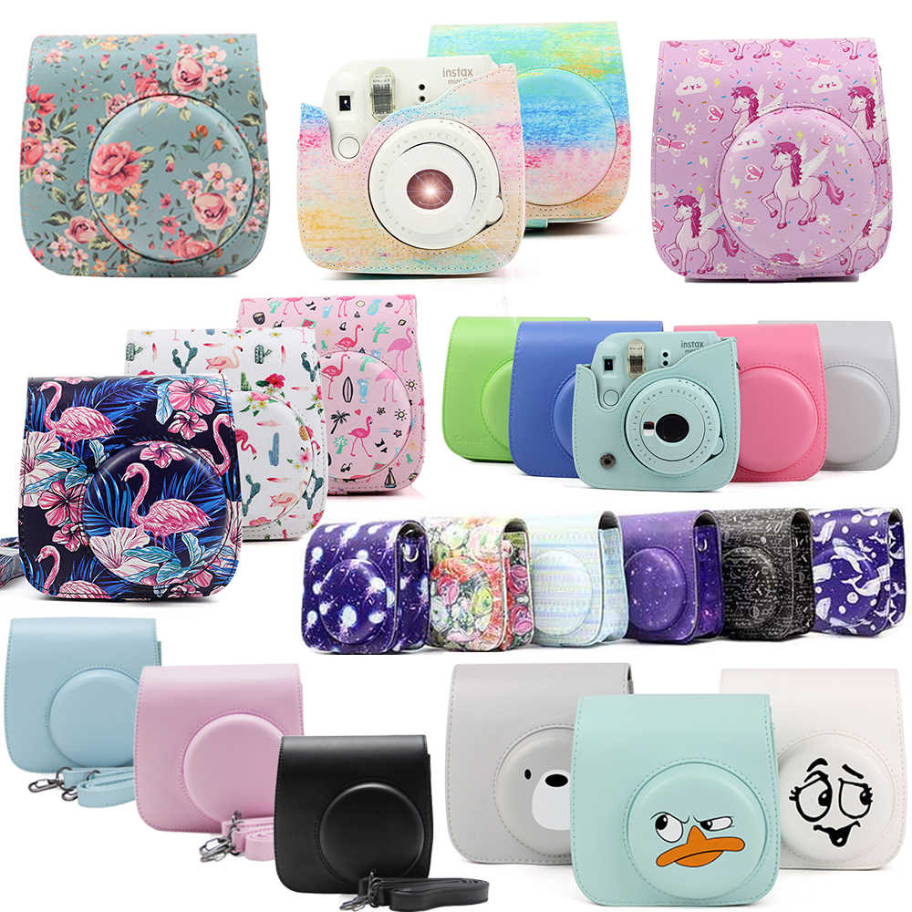 Fujifilm Instax Mini Camera Case Bag PU Leather Cover with Shoulder Strap For Instax Mini 9 Mini 8 Mini 8+ Instant Film Cameras