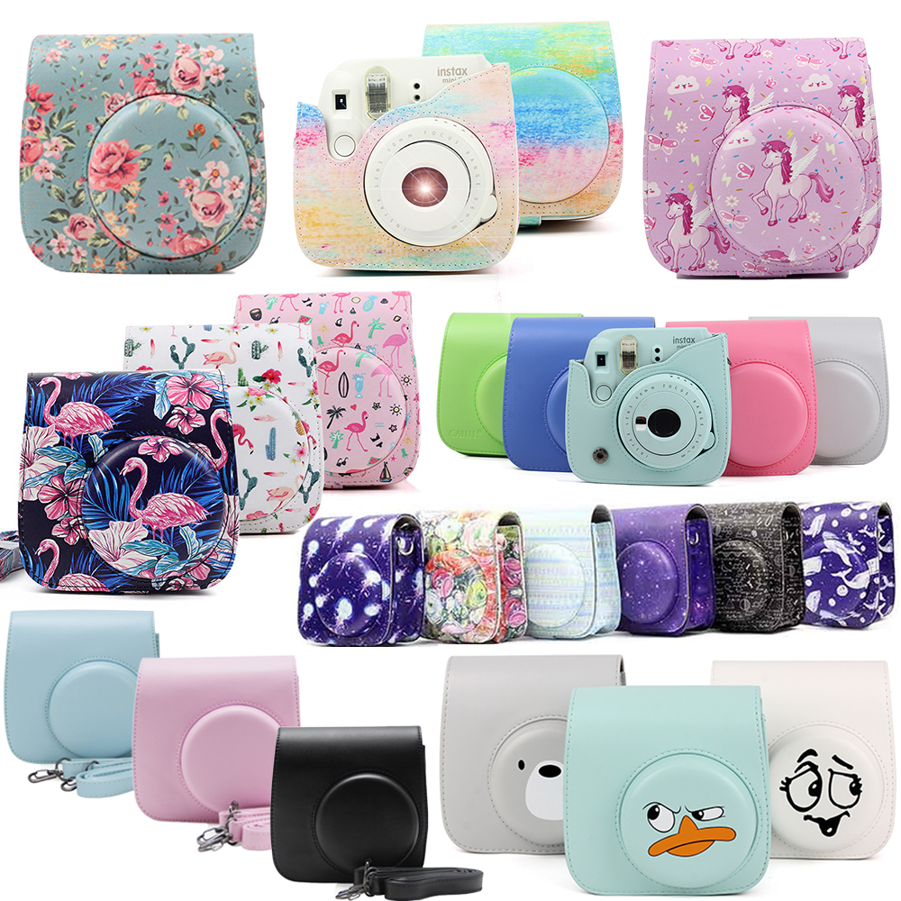 Fujifilm Instax Mini Camera Case Bag PU Leather Cover with Shoulder Strap For Instax Mini 9 Mini 8 Mini 8+ Instant Film Cameras marvel glass iphone case