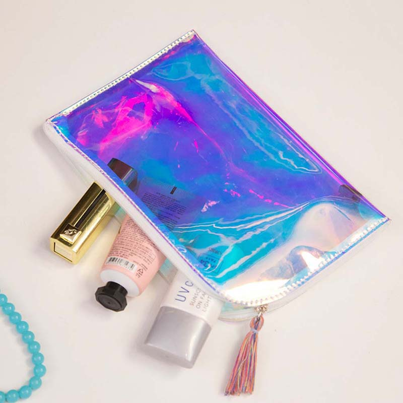 Laamei Holographic Transparent PVC Women Cosmetic Bags Makeup Bag Travel Organizer Cosmetic Cases Lady Storage Beauty Pouch ladsoul 2018 women multifunction makeup organizer bag cosmetic bags large travel storage make up wash lm2136 g