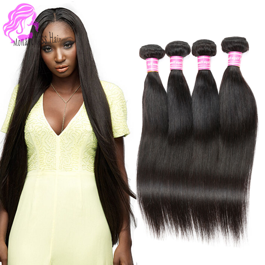 7 A Indian Virgin Hair Straight 4 Bundles Indian Remy Hair -1439