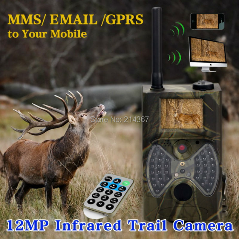Suntek HC-300M MMS GPRS Forest Cameras with Antenna  Outdoor Hunting Game Cameras FREE SHIPPING hot hd12mp 36 black ir led mms outdoor waterproof trail huntingcamera for suntek hc 300m safety iron boxes free shipping